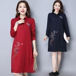 Diosa - Embroidered Long-Sleeve Shirtdress