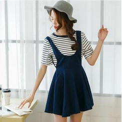 Mossivi - Short Sleeves Striped Top / Jumper Skirt