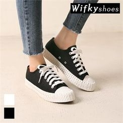 Wifky - Couple Toe-Cap Canvas Sneakers