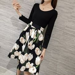 Bloombloom - Floral Print Panel Long Sleeve A-Line Dress