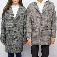 Seoul Homme - Couple Glen-Plaid Single-Breasted Coat