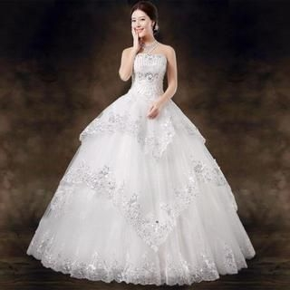 Royal Style - Sequined Strapless Tiered Wedding Ball Gown