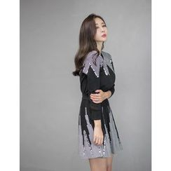 GUMZZI - Set:Sequined Stripe Sweater + Skirt