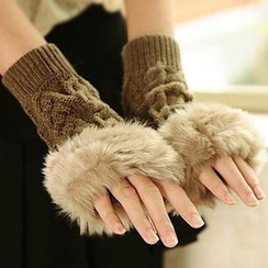 Momiton - Furry Knit Fingerless Gloves
