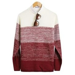 Seoul Homme - Round-Neck Color-Block Knit Top