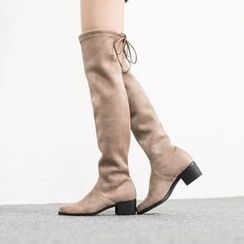 VIVIER - Bow-Detail Faux-Suede High Boots