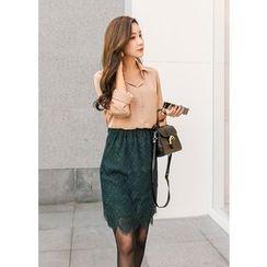 J-ANN - Banded-Waist Laced Skirt
