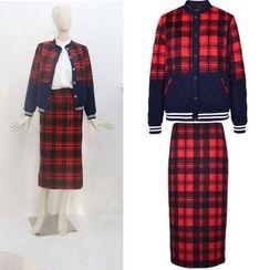 JOYIST - Plaid-Panel Jacket / Midi Skirt