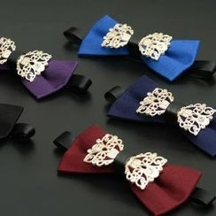 Romguest - 立體花紋金屬鑲嵌領結