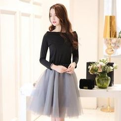 SUYISODA - Set: Long-Sleeve Bow-Accent Top + Pleated Skirt