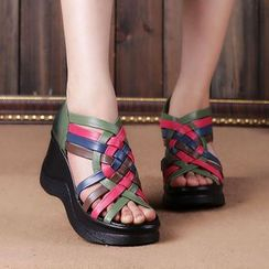 LARKSPUR - Genuine Leather Woven Wedge Sandals