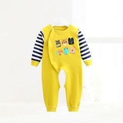 ciciibear - Kids Animal Stripe Panel Open Crotch One-piece