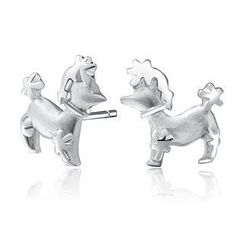 MBLife.com - Left Right Accessory - 925 Sterling Silver Poodle Dog Stud Earrings, Women Girl Fashion Jewellery