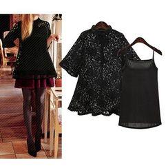 VIZZI - 套裝: 蕾絲中袖上衣 + 吊帶背心