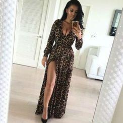 Chika - Slit-Front Leopard-Print Maxi Dress