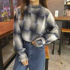 Eva Fashion - 格纹小高领衬衫