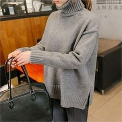 JOAMOM - Turtle-Neck Slit-Side Knit Top