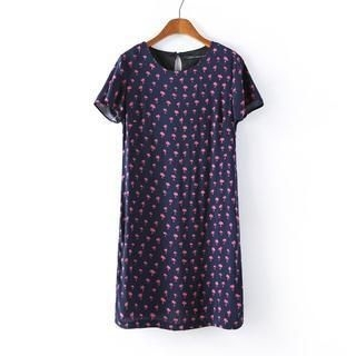 JVL - Short-Sleeve Tree-Print Dress