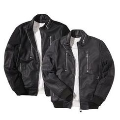 Seoul Homme - Wool-Blend Panel Faux-Leather Jacket