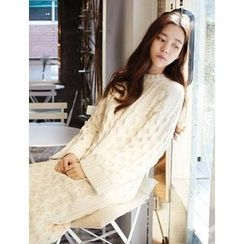 FROMBEGINNING - Crewneck Cable-Knit Long Dress