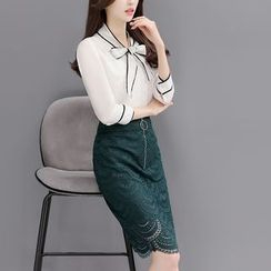 Rosehedge - Set: Contrast Trim 3/4 Sleeve Blouse + Zip Front Lace Skirt