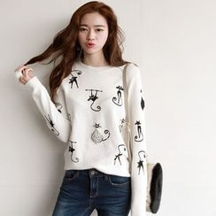 NIPONJJUYA - Crew-Neck Beaded Cat Pattern Knit Top