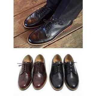 JOGUNSHOP - Genuine-Leather Wing-Tip Oxfords