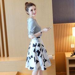 Emmy - Set: Short Sleeve Chiffon Top + Print A-Line Skirt