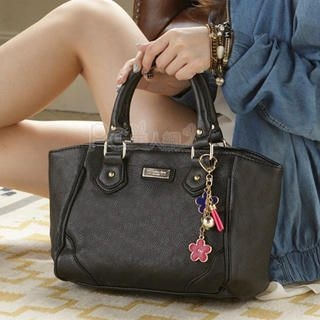 PG Beauty - Metal-Detail Floral-Accent Pebbled Tote