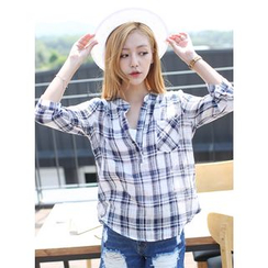 BBAEBBAE - Split-Neck Plaid Blouse