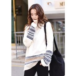 DEEPNY - Turtle-Neck Drop-Shoulder Patterned Sweater
