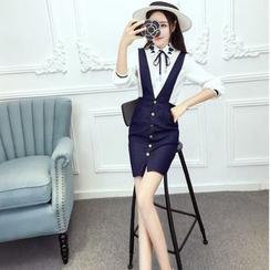 Mi Camilla - Set: Long-Sleeve Blouse + Buttoned Denim Jumper Skirt