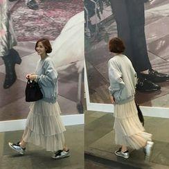 STYLEBYYAM - Band-Waist Layered Chiffon Long Skirt