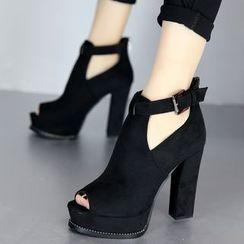 Forkix Boots - 粗跟厚底露趾踝靴