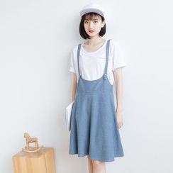 Forest Girl - Denim Pinafore Dress