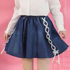 Moriville - Lace Up Denim Skirt