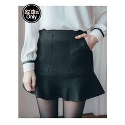 Chlo.D.Manon - Inset Shorts Ruffle-Hem Mini Skirt