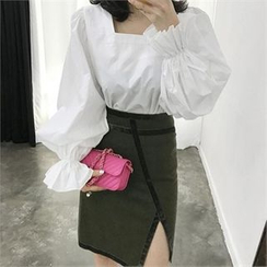 LIPHOP - Squared-Neck Balloon-Sleeve Zip-Back Blouse