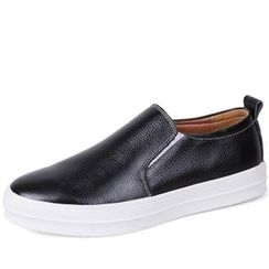 EnllerviiD - Genuine-Leather Slip-On Sneakers