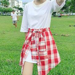 Moon City - 格子假兩件短袖T恤連衣裙