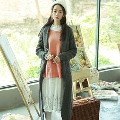 sansweet - Open Front Long Chunky Cardigan
