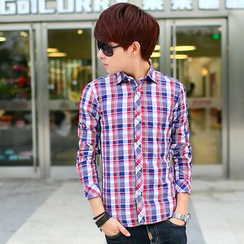 Kunji - Long-Sleeve Plaid Shirt