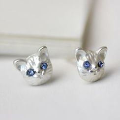 HEDGY - Rhinestone Cat Earrings