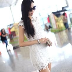 SO Central - Set: Cap Sleeve Lace Dress + Tank Top