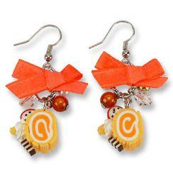 Sweet & Co. - Neon Orange Swiss Roll Ribbon Earrings