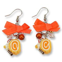 Sweet & Co. - Neon Orange Swiss Roll Ribbon Earrings