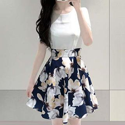 Fashion Street - Floral Print Mock Two-Piece Dress