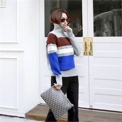 PIPPIN - Turtle-Neck Color-Block Wool Blend Knit Top
