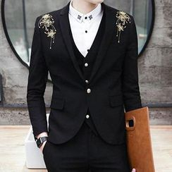 Besto - Set: Embroidered Blazer + Vest + Pants