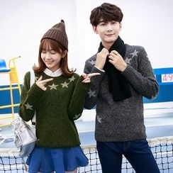 TOOI - Couple Matching Star Print Sweater